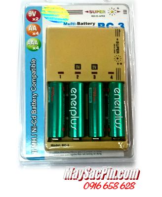 Bộ sạc pin Super BC-3 kèm sẳn 4 pin sạc EnerPlus AA2700mAh 1.2v