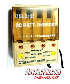 Máy sạc pin Super BC-60, 4 rảnh-sạc được 2 đến 4 pin AA-AAA (không kèm pin)
