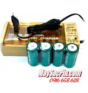 Bộ sạc pin D Super BC2500 (sạc pin AA,AAA,C,D,9v) kèm sẳn 4 pin sạc D EnerPlus D5000mAh 1.2v