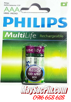 PHILIPS R03B2A80/97, Pin sạc AAA800mAh 1.2v PHILIPS R03B2A80/97 chính hãng Made in China