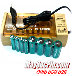 Máy sạc pin Super BC-2500, sạc pin AA-AAA-C-D-9V kèm 8Pin (4pin AA2700mah, 4 pin C5000mAh)