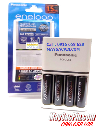 Bộ sạc pin AA Panasonic Eneloop BQ-CC55E (4AA2550mAh), Kèm sẳn 4 pin sạc Eneloop PRO AAA950mAh 1.2v