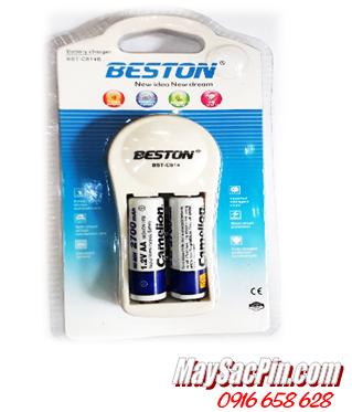 Bộ sạc pin AA Beston BST-C814B kèm sẳn 2 pin sạc Camelion AA2700mAh Lockbox 1.2v