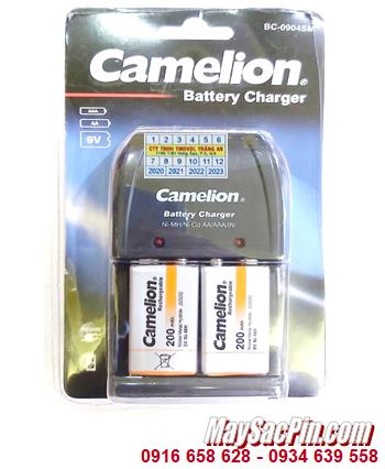Camelion BC-0904SM _Bộ sạc pin 9v BC-0904SM kèm 2 pin sạc Camelion NH-9V200BP1 (Pin màu cam)